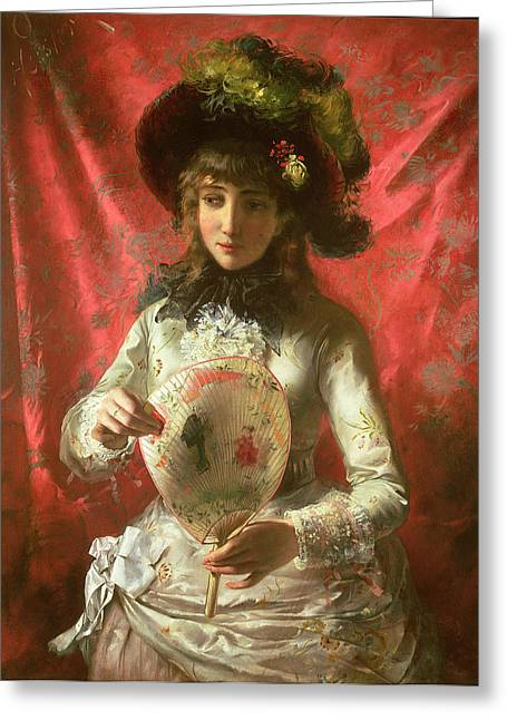 Clutch Greeting Cards - Girl with a Fan Greeting Card by Otto Hessler