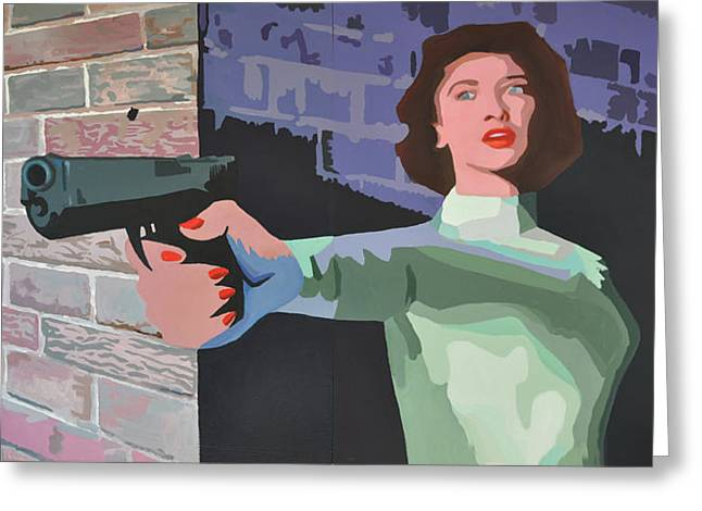 Desperate Paintings Greeting Cards - Girl With A Gun Greeting Card by Geoff Greene