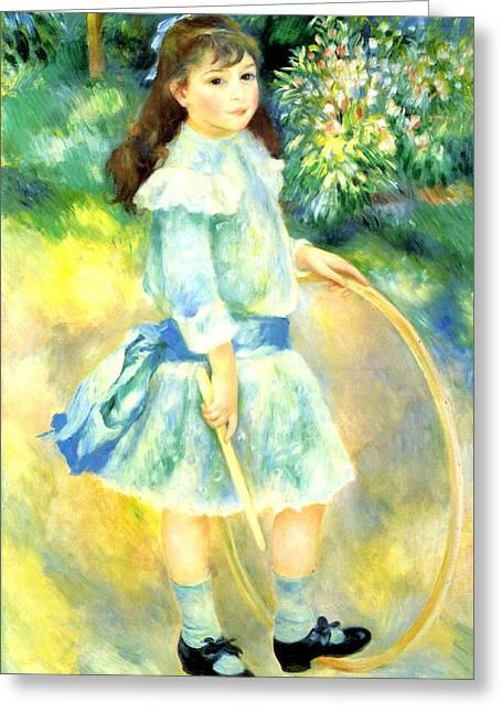 Renoir Digital Greeting Cards - Girl With A Hoop Greeting Card by Pierre-Auguste Renoir