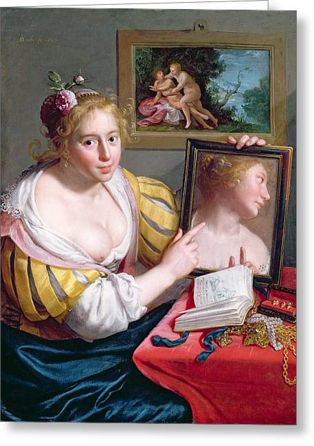 Jewellery Greeting Cards - Girl With A Mirror, An Allegory Greeting Card by Paulus Moreelse