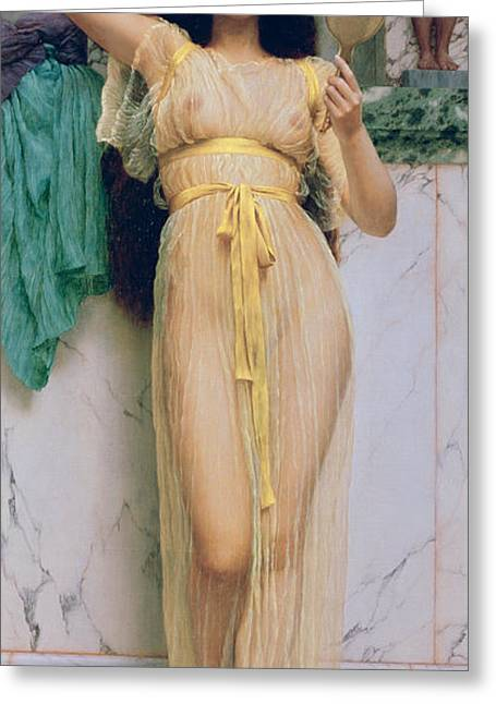 Girl Greeting Cards - Girl with a Mirror Greeting Card by John William Godward