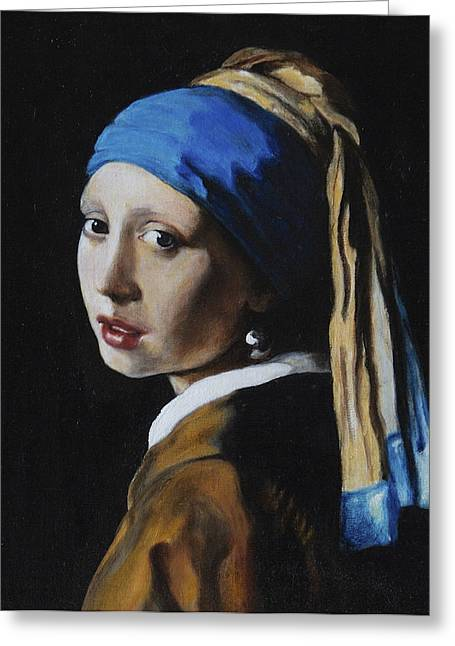 Girl With A Pearl Earring Greeting Cards - Girl with a pearl earring after J. Ver Meer  Greeting Card by Massimo Tizzano