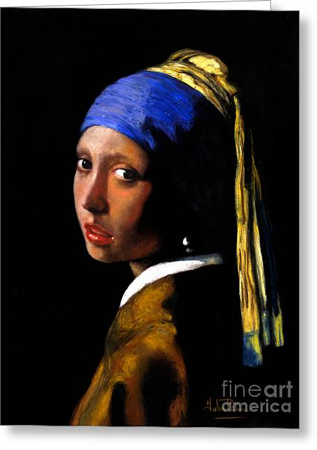 Girl With A Pearl Earring Greeting Cards - Girl with a pearl earring after Johannes Vermeer. Greeting Card by John  Palmer
