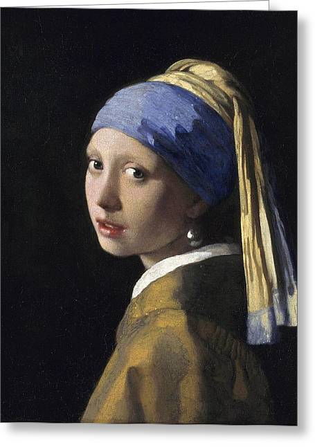 Girl With A Pearl Earring Greeting Cards - Girl With A Pearl Earring Baroque Art Greeting Card by Masterpieces Of Art