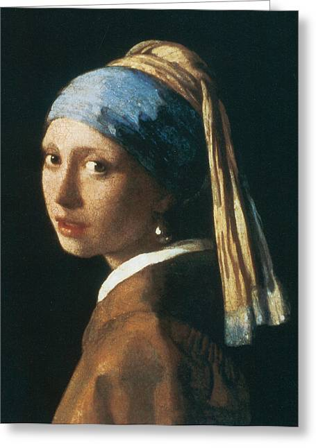 Girl With A Pearl Earring Greeting Cards - Girl with a Pearl Earring Greeting Card by Jan Vemeer