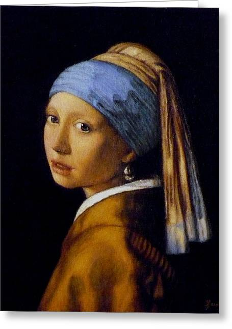 Girl With A Pearl Earring Greeting Cards - Girl with a Pearl Earring Greeting Card by Jaro Zbijar