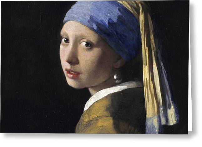 Girl with a Pearl Earring Greeting Card by Johannes Vermeer