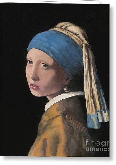 Girl With A Pearl Earring Greeting Cards - Girl with a Pearl Earring Greeting Card by Paul Mudersbach