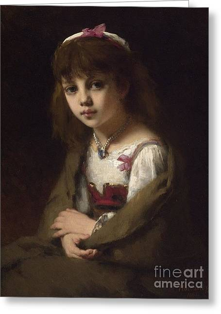 Orthodox Paintings Greeting Cards - Girl with a Pearl Necklace Greeting Card by Alexei Kharlamov