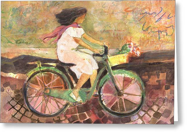 Gift For Greeting Cards - Girl with a Pink Scarf Greeting Card by Jen Norton