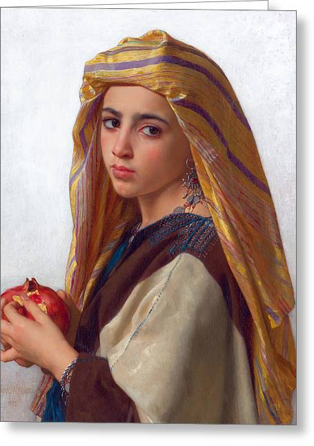 Girl With A Pomegranate Greeting Card by William-Adolphe Bouguereau