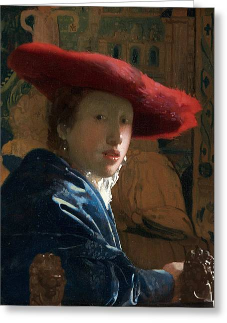 Dutch Girl Greeting Cards - Girl with a Red Hat Greeting Card by Johannes Vermeer