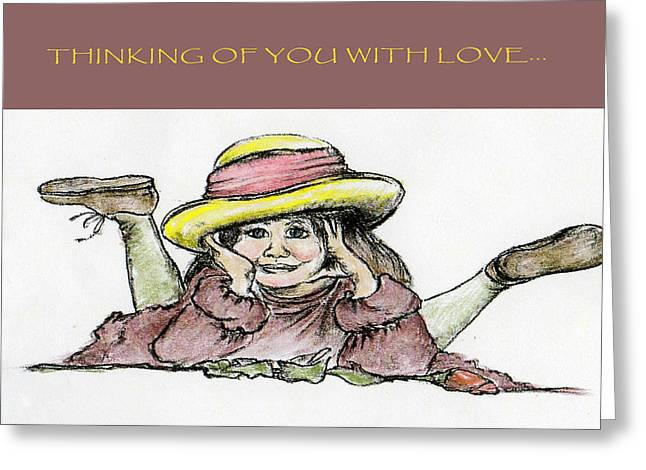 Hand Drawn Pastels Greeting Cards - Girl with a Rose Greeting Card by Rose Davis