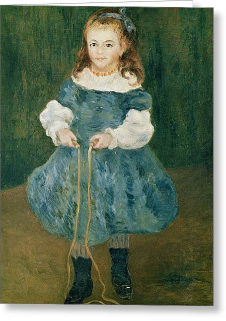 Blue Necklace Greeting Cards - Girl With A Skipping Rope, 1876 Oil On Canvas Greeting Card by Pierre Auguste Renoir