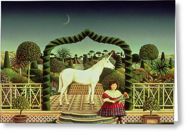 Wild Animals Photographs Greeting Cards - Girl With A Unicorn, 1980 Acrylic On Board Greeting Card by Anthony Southcombe