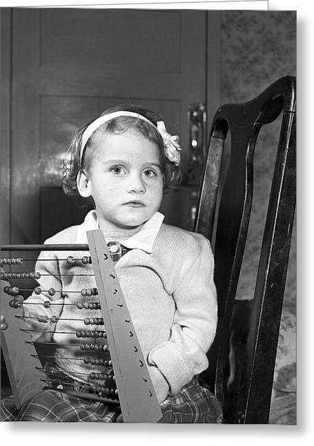 1950s Portraits Photographs Greeting Cards - Girl with Abacus Greeting Card by Irish Photo Archive