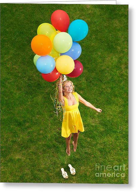 Weightless Greeting Cards - Girl with air balloons in mid-air Greeting Card by Oleksiy Maksymenko