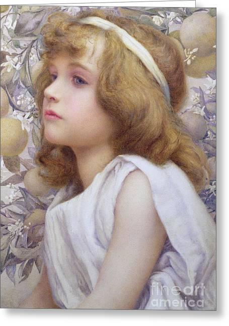 Sincerity Greeting Cards - Girl with Apple Blossom Greeting Card by Henry Ryland