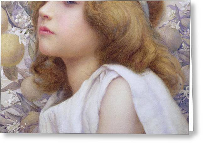 Girl with Apple Blossom Greeting Card by Henry Ryland