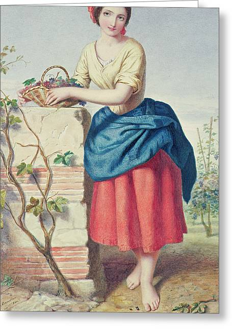 Farm Stand Greeting Cards - Girl with Basket of Grapes Greeting Card by Jules I Bouvier