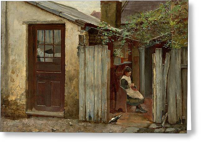 Frederick Greeting Cards - Girl with bird at the King Street bakery Greeting Card by Frederick McCubbin