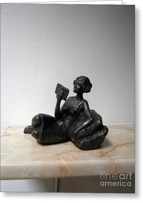 Book Sculptures Greeting Cards - Girl with book Greeting Card by Nikola Litchkov