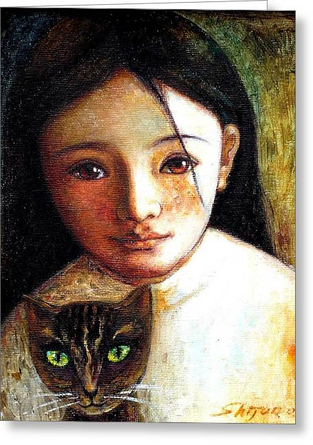 Classic Cats Greeting Cards - Girl with Cat Greeting Card by Shijun Munns