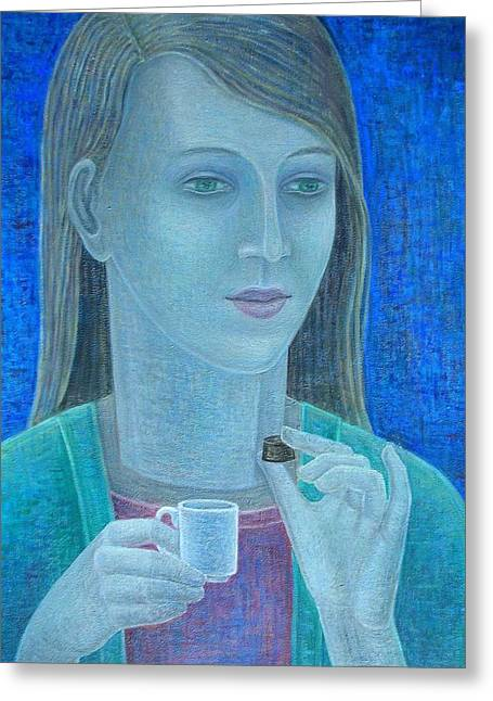 Inward Greeting Cards - Girl With Chocolate, 2011, Oil On Canvas Greeting Card by Ruth Addinall