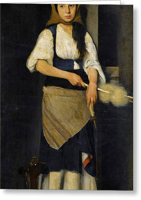 Distaff Greeting Cards - Girl with Distaff and Spindle Greeting Card by Polychronis Lempesis