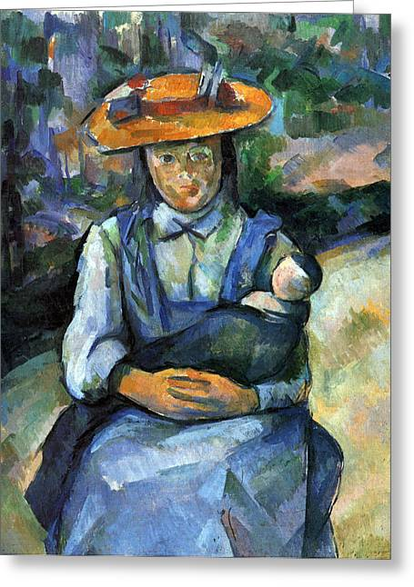 John Peter Greeting Cards - Girl with Doll by Cezanne Greeting Card by John Peter