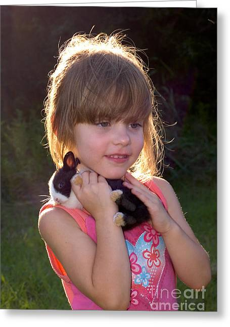Girl And Animals Greeting Cards - Girl With Domestic Rabbit Pup Greeting Card by Gregory G. Dimijian, M.D.