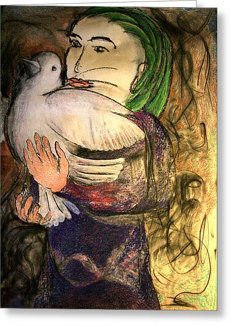 Dove Pastels Greeting Cards - Girl With Dove Greeting Card by Mark Stammers