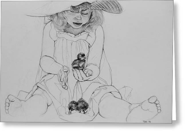 Straw Hat Drawings Greeting Cards - Girl With Ducklings Greeting Card by Jani Freimann