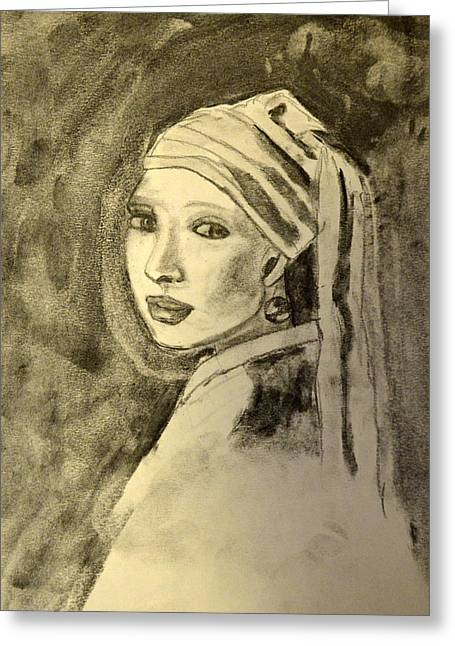 Snowy Night Drawings Greeting Cards - Girl With Earring Greeting Card by Daniele Fedi