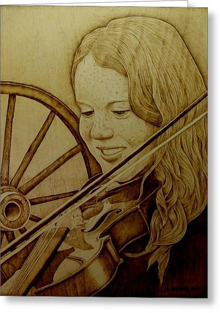 Wagon Wheels Pyrography Greeting Cards - Girl With Fiddle Greeting Card by Jo Schwartz