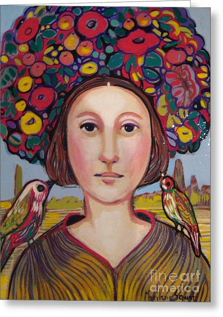 Medieval Tapestries Greeting Cards - Girl With Flower Hat Greeting Card by Marilene Sawaf