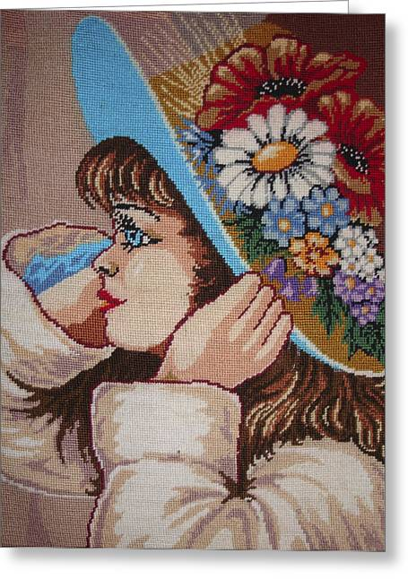Portraits Tapestries - Textiles Greeting Cards - Girl With Flowers Greeting Card by Eugen Mihalascu