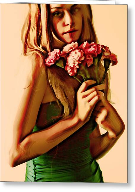 Girl With Flowers Greeting Card by Nikola Durdevic