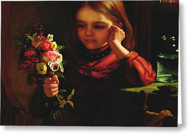 Youthful Greeting Cards - Girl With Flowers Greeting Card by John Davidson