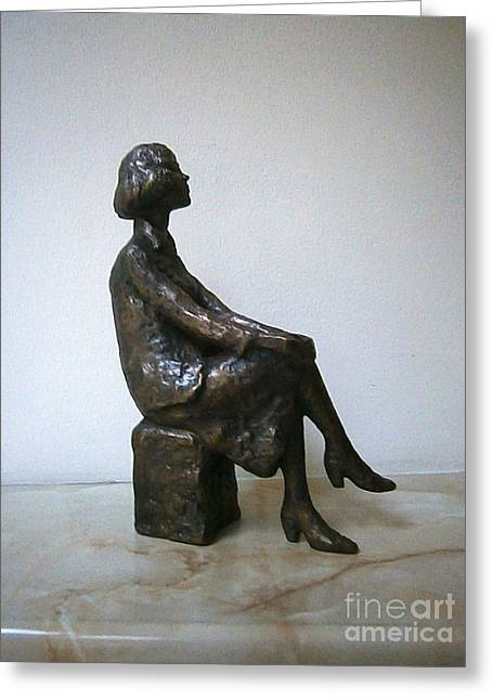 Girl Sculptures Greeting Cards - Girl with hands on knees Greeting Card by Nikola Litchkov