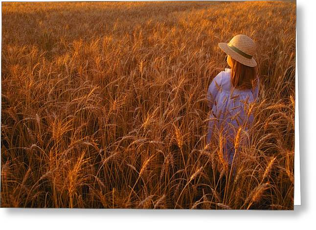 Experienced In Childhood Greeting Cards - Girl With Hat In Field Greeting Card by Don Hammond