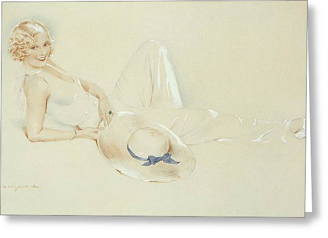 Flirtatious Greeting Cards - Girl With Hat Wc On Paper Heightened With White Greeting Card by S.M. Gerard