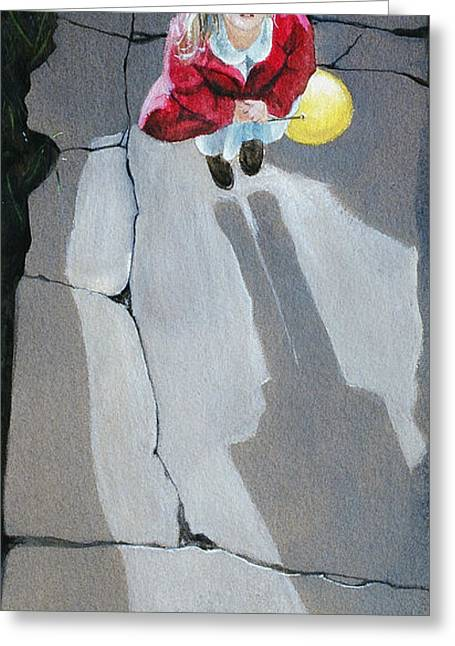 Helium Greeting Cards - Girl with Helium Balloon Greeting Card by Robert Tracy