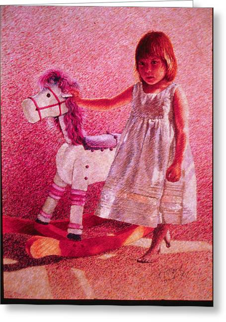 Herschel Pollard Greeting Cards - Girl with Hobby Horse Greeting Card by Herschel Pollard