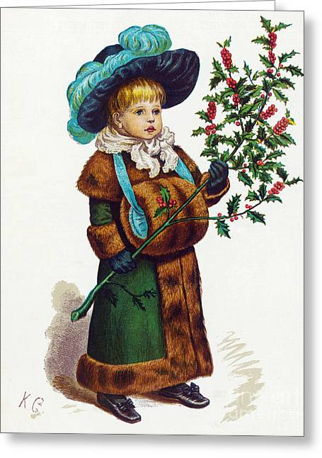 Special Occasion Greeting Cards - Girl With Holly Greeting Card by Mary Evans