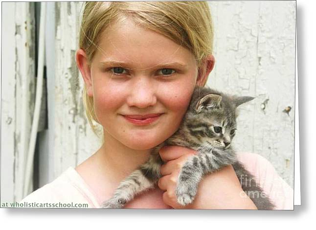 Photos Of Kittens Greeting Cards - Girl With Kitten Greeting Card by PainterArtist FIN