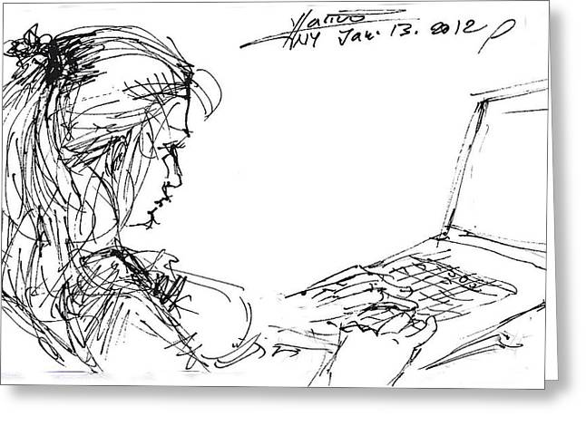 Sketch Greeting Cards - Girl With Laptop  Greeting Card by Ylli Haruni