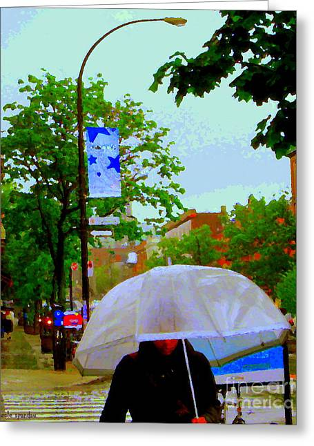 Crosswalk Paintings Greeting Cards - Girl With Large Umbrella Its Raining Its Pouring April Showers Montreal Scenes Carole Spandau Art Greeting Card by Carole Spandau