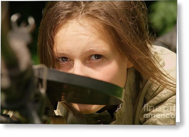 Hot Gun Greeting Cards - Girl With Machine-gun Greeting Card by Aleksey Tugolukov