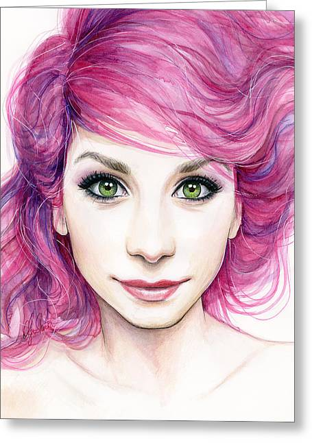 Watercolor Portrait Greeting Cards - Girl with Magenta Hair Greeting Card by Olga Shvartsur